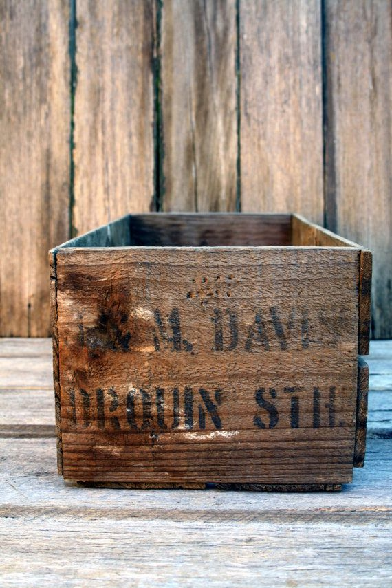 Vintage old wooden crate box by hiatusvintage on Etsy, $28.00