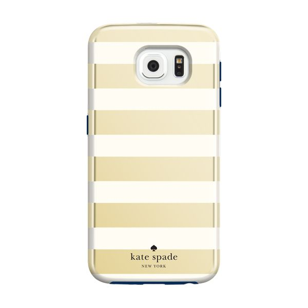 kate spade new york Hybrid Hardshell Case for Samsung Galaxy S6 - Candy  Stripe Gold/