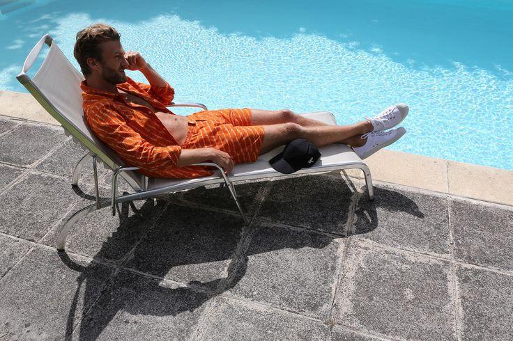 chemise manches courtes et short en coton tissé Ikat orange