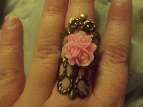 Pink Roses Bronze filigree ring by Blackrose37 on Etsy