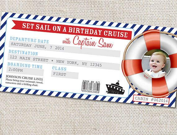 Cruise Ticket Birthday Party invitation Custom by breations, $12.00