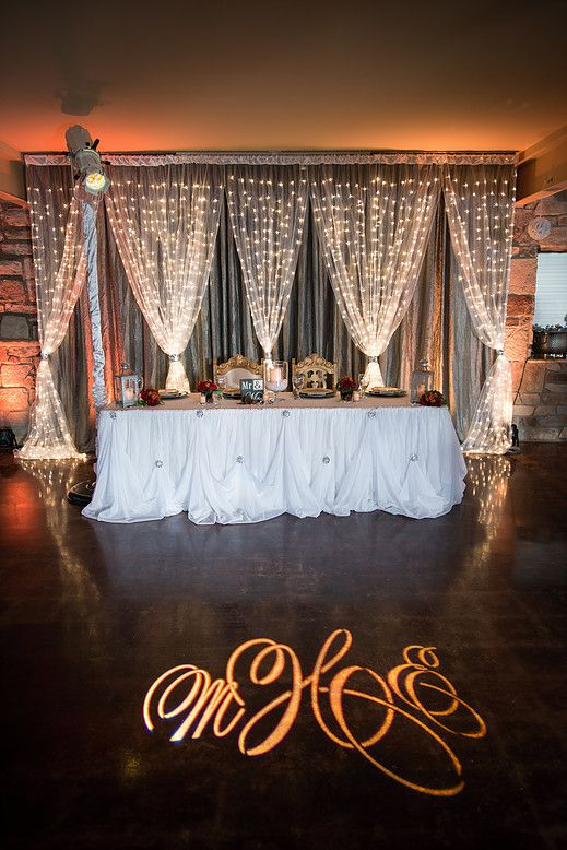 Mixed Metals-Silver and Gold, Lighted Back Drop, High Back Gold Chairs with personal GOBO Compliments of BeSeatedKC, Innovative Lighting