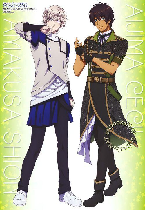 Uta no Prince-sama (うたの☆プリンスさまっ♪)Amakusa Shion and Aijima Cecil show off their elite fashion in the new Animedia Magazine (Amazon US   Japan) pin-up, illustrated by Iyoko Ishii (いしいいよ子) promoting the new Maji LOVE Legend Star series.