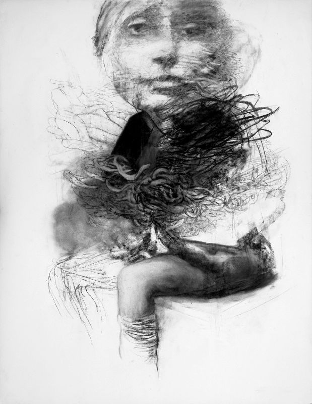 Marko Velk /charcoal/drawing /black and white/ Observation Charcoal on paper