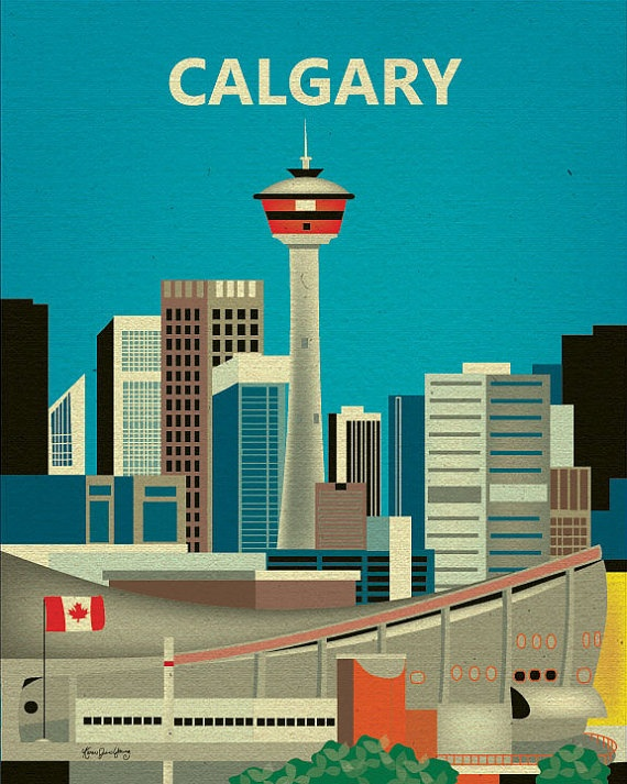 Calgary Canada Skyline Destination Print Travel by loosepetals, $26.00