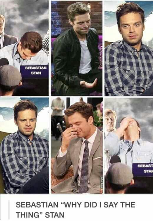 """Sebastian """"Why did I say the thing"""" Stan... the 2 pics where he's in plaid are my faves lol  he's so awkward it makes him adorable"""