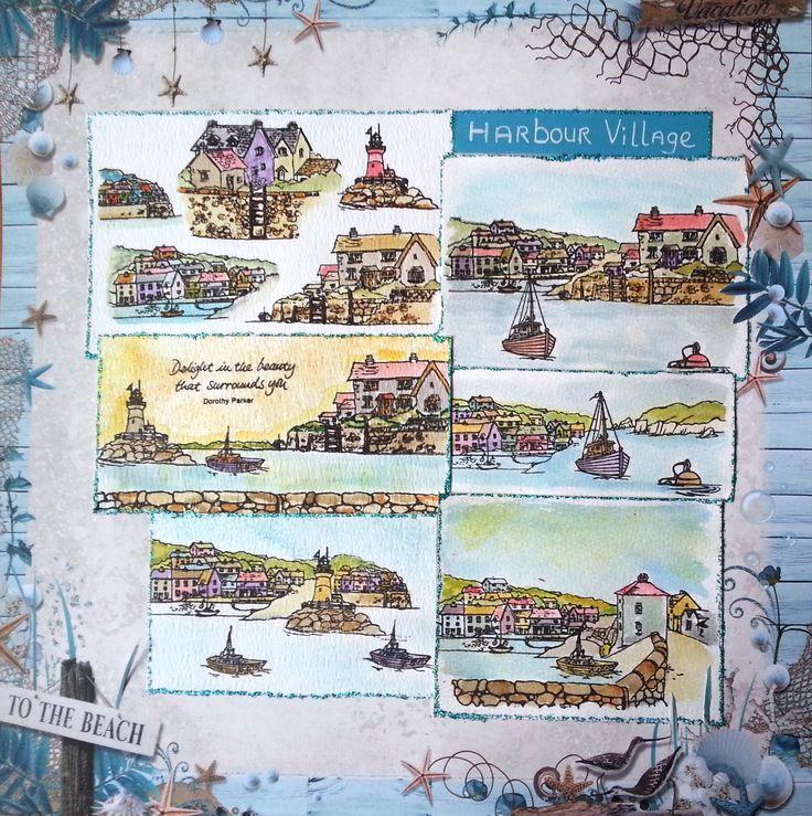 Deze layout is gemaakt door Angela met de stempelset Harbour Village, ontworpen door Sharon Bennett en verwerkt op Studio Light papier. Alle materialen verkrijgbaar bij www.multihobby.nl