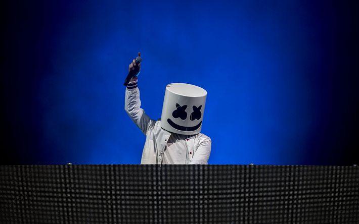 Descargar fondos de pantalla Marshmello, 4k, conciertos, DJ, progressive house, consola de DJ, DJ Marshmello