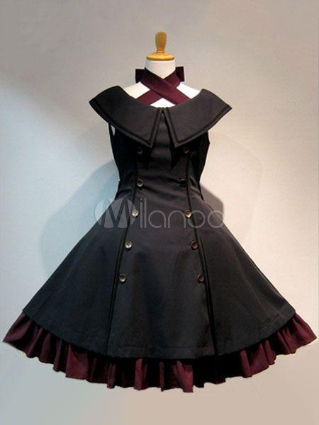 Falda de Lolita Fiesta del té sin mangas Color liso de algodón gótica