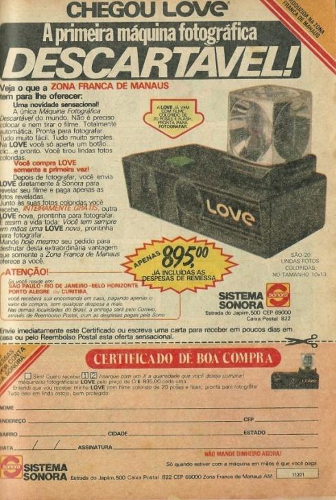 Câmera Love (1981). Nos tempos das máquinas fotográficas descartáveis.