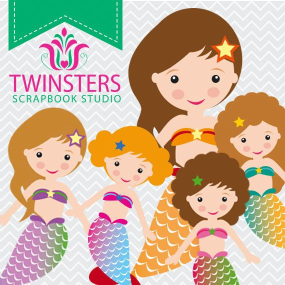 Mermaids clipart, png digital clipart-TW45 ? INSTANT DOWNLOAD