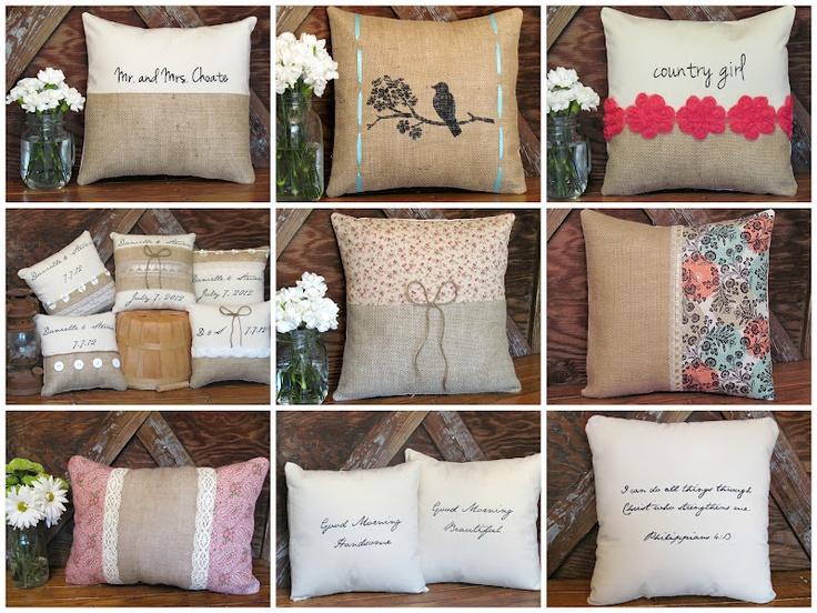 Burlap pillows & 24 best burlap ideas images on Pinterest   Crafts Holiday ideas ... pillowsntoast.com