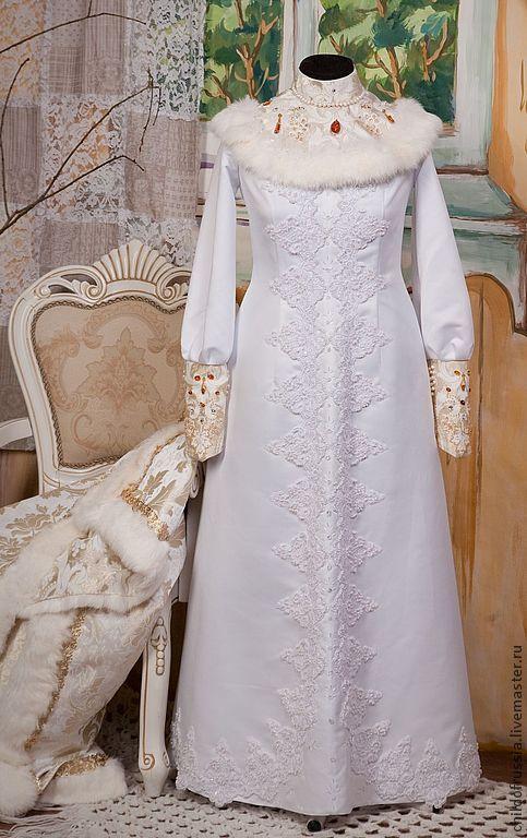 Купить Свадебный Боярский костюм - белый, костюм, парча, натуральный мех, атлас, янтарь натуральный