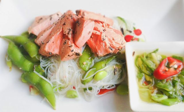 Sockeye salmon poached in Chinese Lapsang Souchong tea and glass noodles with chilli cucumber dressing