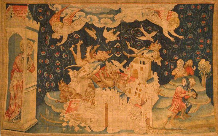 Tapisserie sur le thème de la chute de Babylone, Tenture de l'apocalypse d'Angers, fin du XIVe siècle