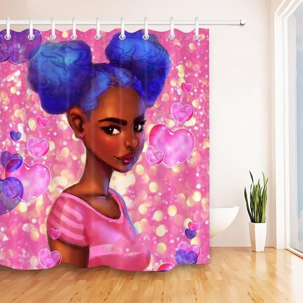 New Bubble Gum Diva Fabric Shower Curtains Girls With Black
