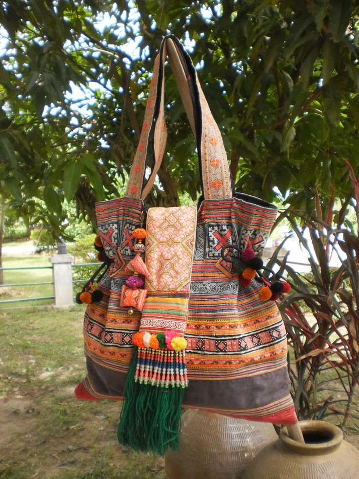 Tribal Vintage Hmong Bag Made With Upcycled Hmong  Hilltribe Textile From Old Hmong Skirt. $52.00, via Etsy.