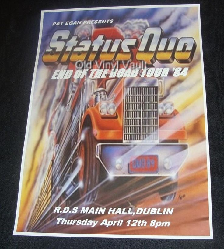 Status Quo concert poster R.D.S Dublin 1984 End Of Road Tour new A3 size repro | eBay