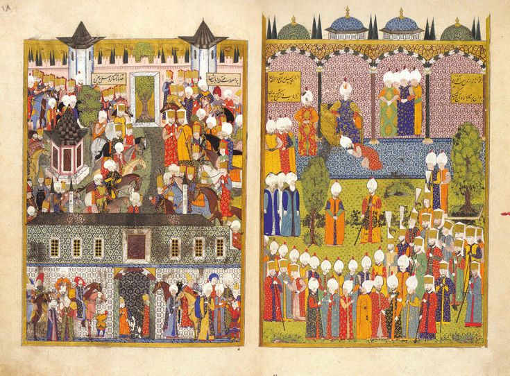 The Enthronement of Süleyman the Magnificent, from the Süleymanname (1558; sourced from Osmanlı Resim Sanatı)