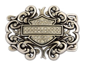 Amazon.com: Harley-Davidson® Women's Collector Belt Buckle. Bar & Sheild Scroll. Clear Crystal Embellishment. W10089-CRY: Clothing