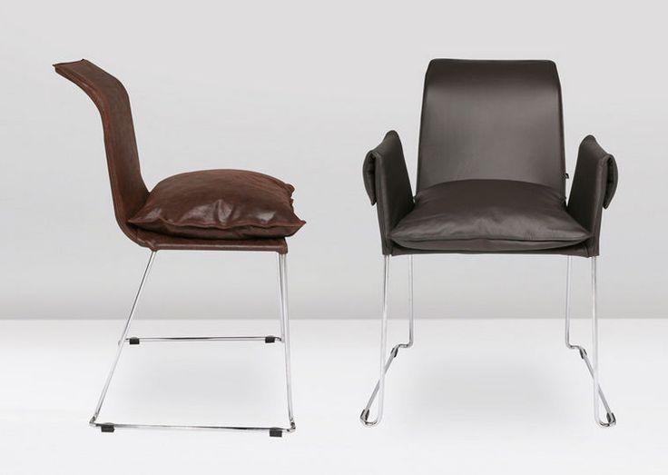 Modern Stuhl / Armlehnen / Leder / Kufen MEXICO Kff. Design