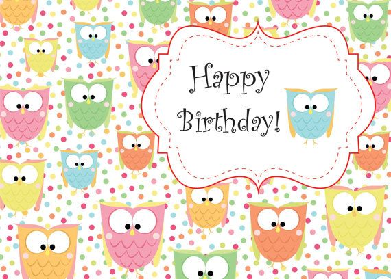 Cute owl birthday printable card instant download - Happy birthday card wallpaper ...