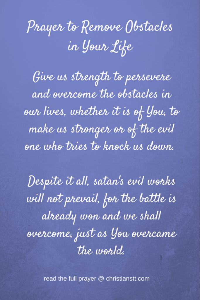 Prayer to Remove Obstacles in Your Life | DAILY PRAYER ...