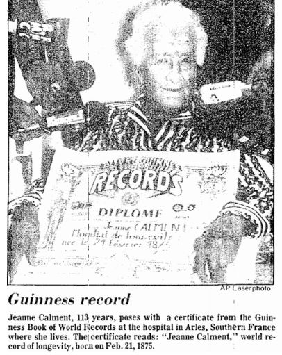 """A photo of Jeanne Calment, who was 113 years old in 1988, published in the Aberdeen Daily News newspaper (Aberdeen, South Dakota), 15 June 1988. Read more on the GenealogyBank blog: """"Find the Oldest People to Ever Live, as Reported in Newspapers."""" http://blog.genealogybank.com/find-the-oldest-people-to-ever-live-as-reported-in-newspapers.html"""