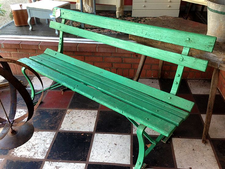 A Cheerful Green Bench At An Antique Shop Downtown, Front Royal VA. Antique  ShopsVirginiaBenches
