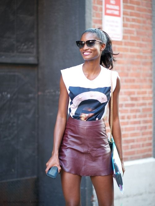 casual tee and leather skirt