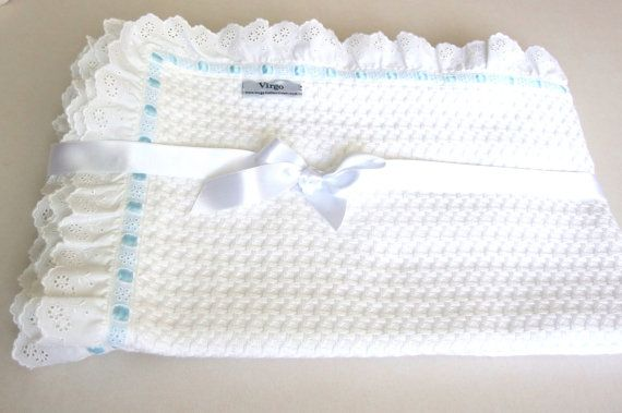 Baptism Baby Blanket White Cotton Lace by VirgoCottonLinen on Etsy #Baby #BaptismBlanket #BabyGift #GreekCotton #RuffleBabyBeddding