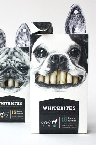 This packaging design is amazing to me. It's already fun to look at and catches your eye, but how it's able to use the product as a part of it's display is just clever. The black and white colors are also nice. I feel too much color would have made the overall packaging overbearing.--------------개껌을 개 이빨로 표현하며 디자인해 개를 키우는 사람들의 시선을 끌어 구매를 생각해보게 되는 좋은 디자인같다
