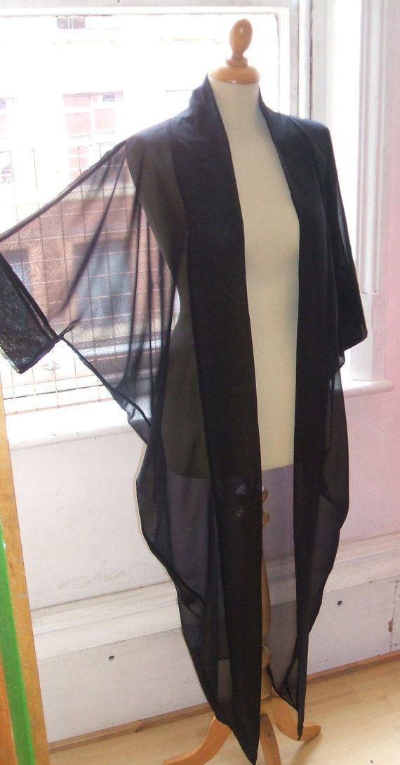 Baylis & Knight Black Chiffon LONG Maxi KIMONO Jacket Oversize Boho Retro Festival Cruise Beach Duster Coat Full Length