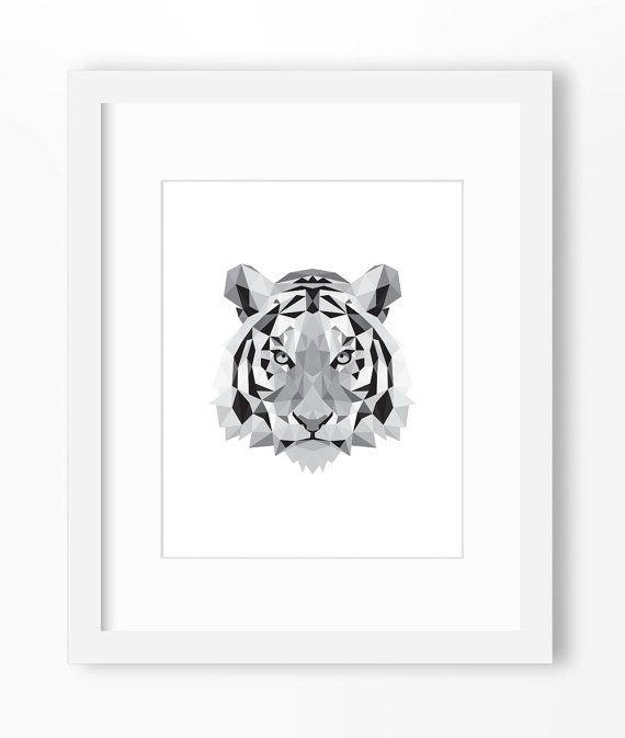 Tiger Print, Tiger Art, Tiger Wall Art, Geometric Tiger Print, Tiger Print, Origami Tiger, Geometric Tiger, Triangle Tiger, Tiger Face