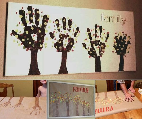 Family Handprint Tree with Tutorial - 28 Most Fun Hand and Footprint Art Ideas for Home Decor