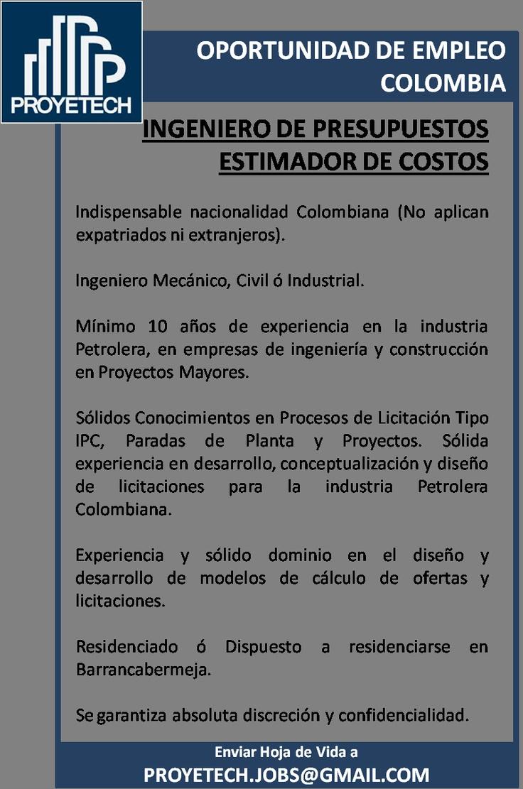 Colombia: Buscamos Ing. Estimador de Costos / Presupuestos. Experiencia en Petroleo.