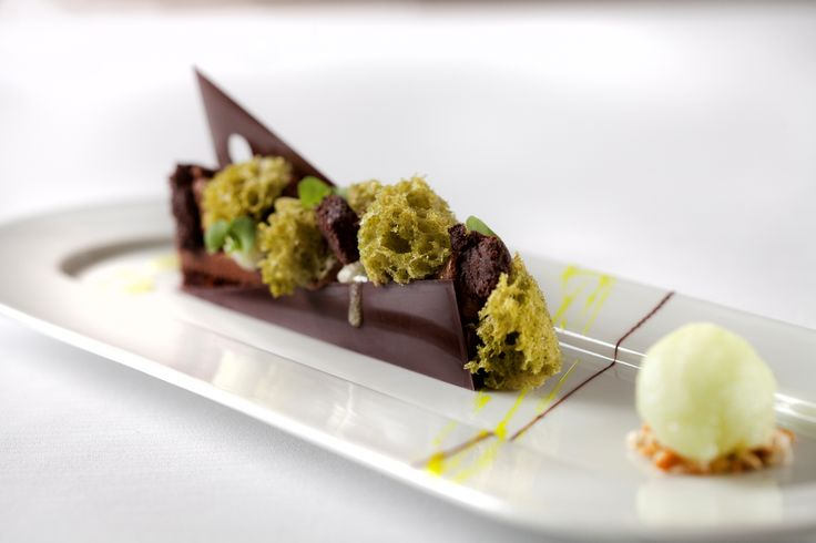 Sweet December - Choco- mint Chocolate cream / mint sauce/ chocolate crumble/mint bavaroise/lime mint sorbet #FSTaste