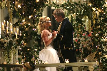 The Cinderella Story, beautiful gazebo fairly lights, candles and roses