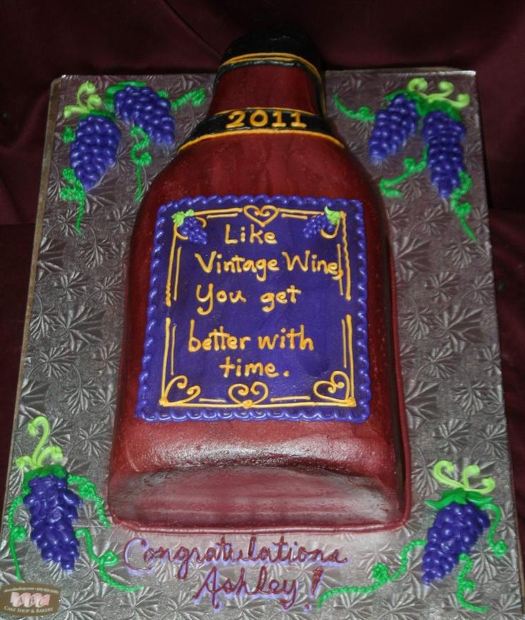 vintage wine birthday cake