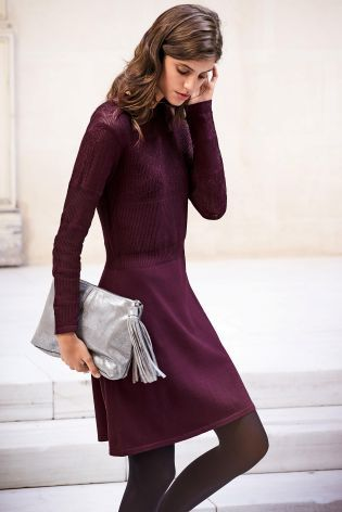 Buy Berry Pointelle Dress from Next USA