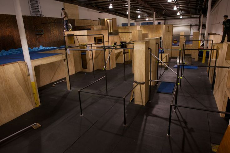 apex movement, bars, boxes, walls, foam pit, trampoline