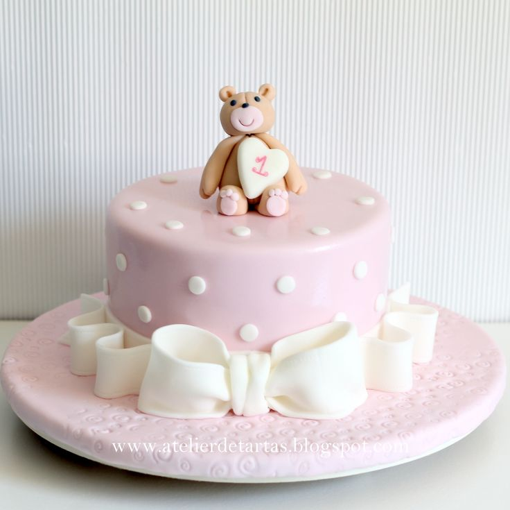 Tartas Fondant Cumpleaños Bautizo Baby Shower osito rosa