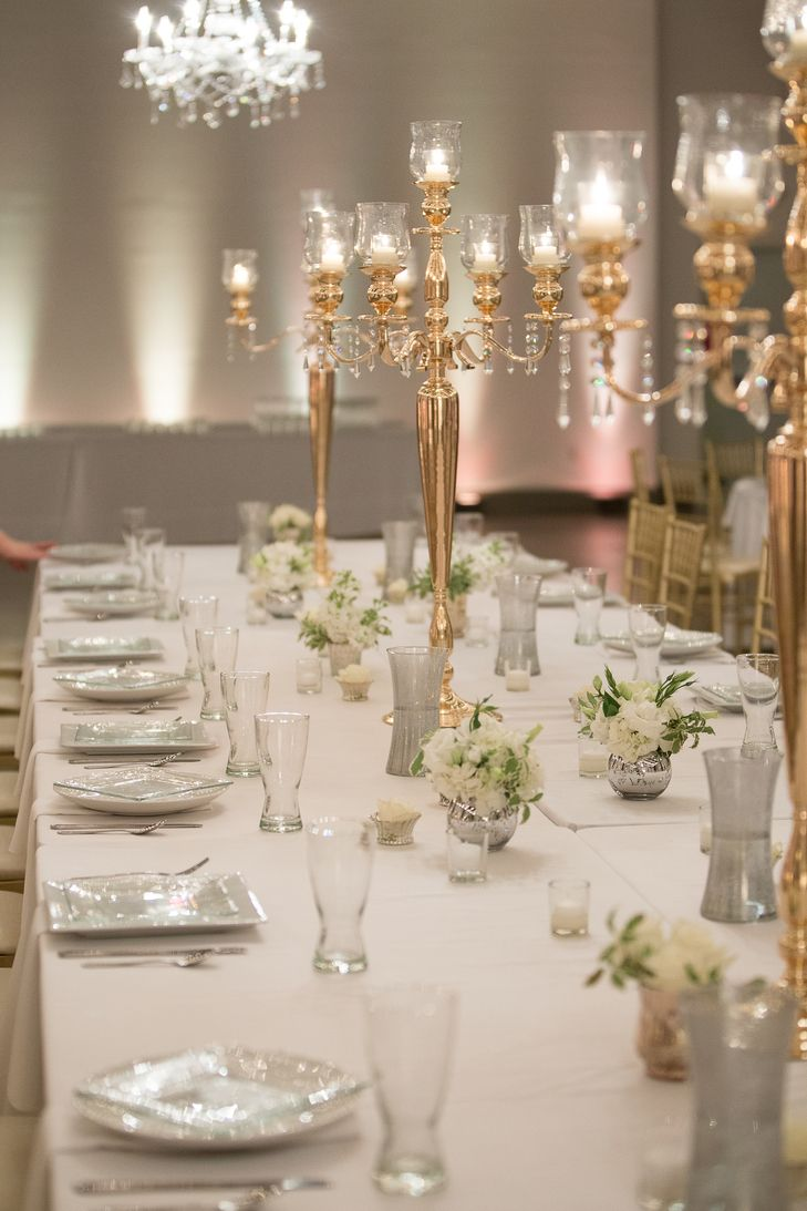 Gold Candelabra Dining Table Centerpieces | Hafner Florist | Dee Dee Anderson Photography