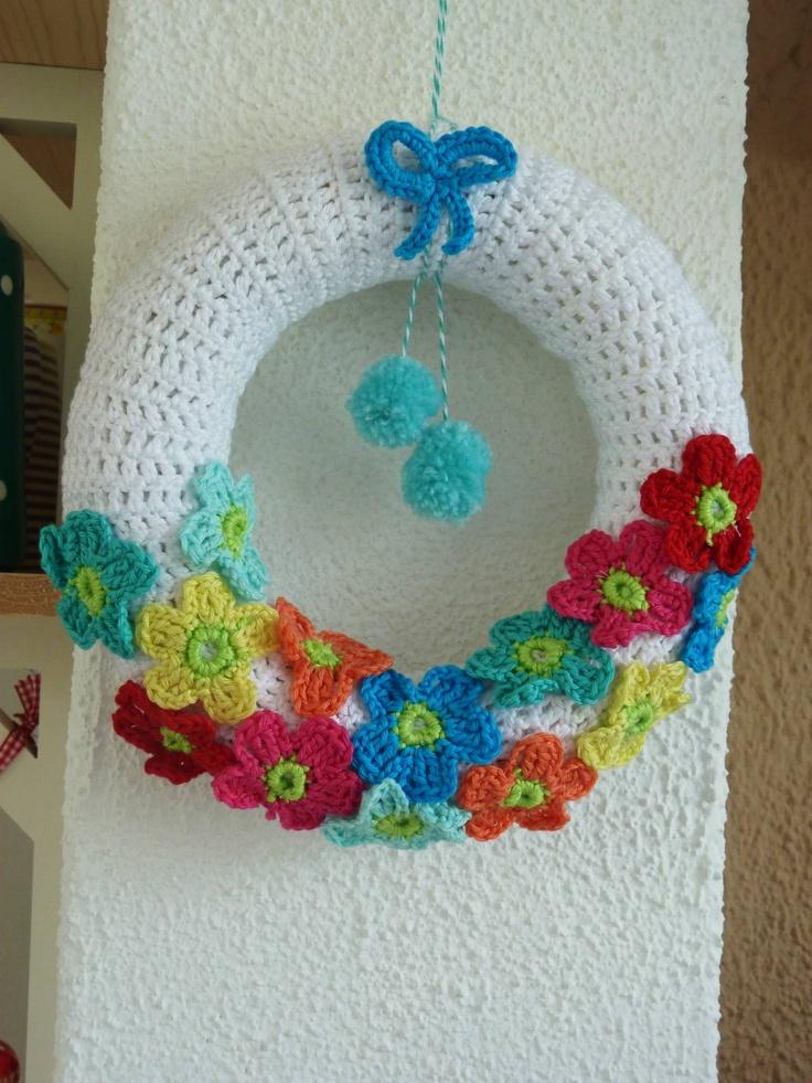 Ilona's blog: Gehaakte krans, Crochet Wreath