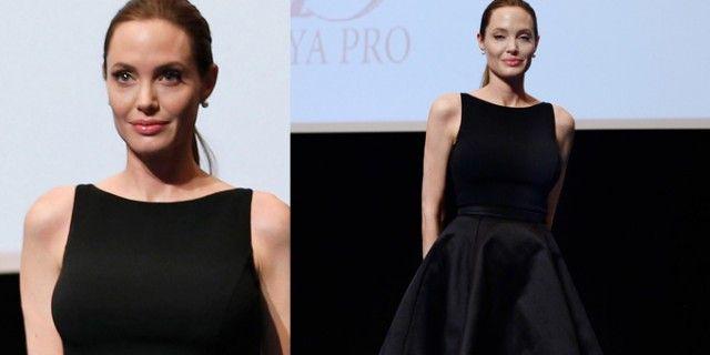 """Angelina Jolie per la proiezione del film """"In the Land of Blood and Honey"""" all'Università delle Nazioni Unite a Tokyo ha scelto un look minimal. http://www.sfilate.it/200183/per-angelina-jolie-a-tokyo-abito-di-michael-kors-e-scarpe-jimmy-choo"""