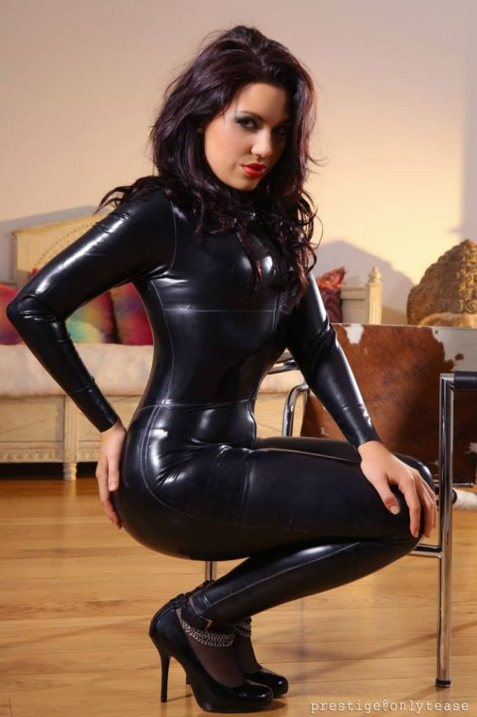 Latex catsuit tease