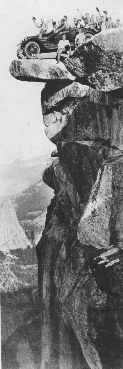 At the end of the track. Glacier Point in Yosemite National Park. - Click image to find more History Pinterest pins