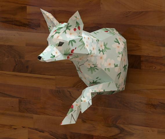 Papercraft Fox Papercraft Animal Wall Decor Faux Taxidermy Etsy Paper Crafts Animal Wall Decor Paper Sculpture