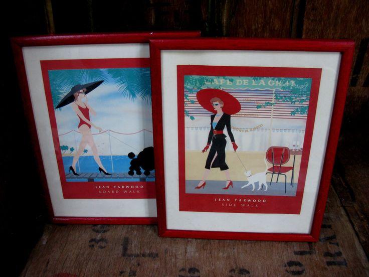 Jean Yarwood Prints, Vintage Prints, Fashion Prints, Side Walk, Board Walk, Jay Walk, Cat Walk, 1980s Prints, 1980s Decor, 1980s Art by MissieMooVintageRoom on Etsy