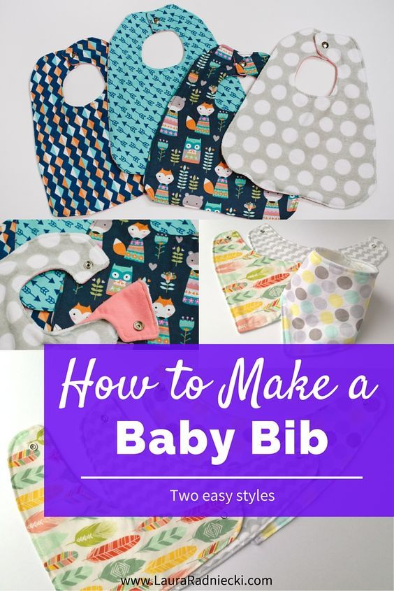 Baby Bib Tutorial - This post explains how to make two different types of cute and simple baby bibs: a traditional food style bib and a bandana drool bib. With photos and instructions, even people who are new to sewing will be able to make pretty bibs for their babies!